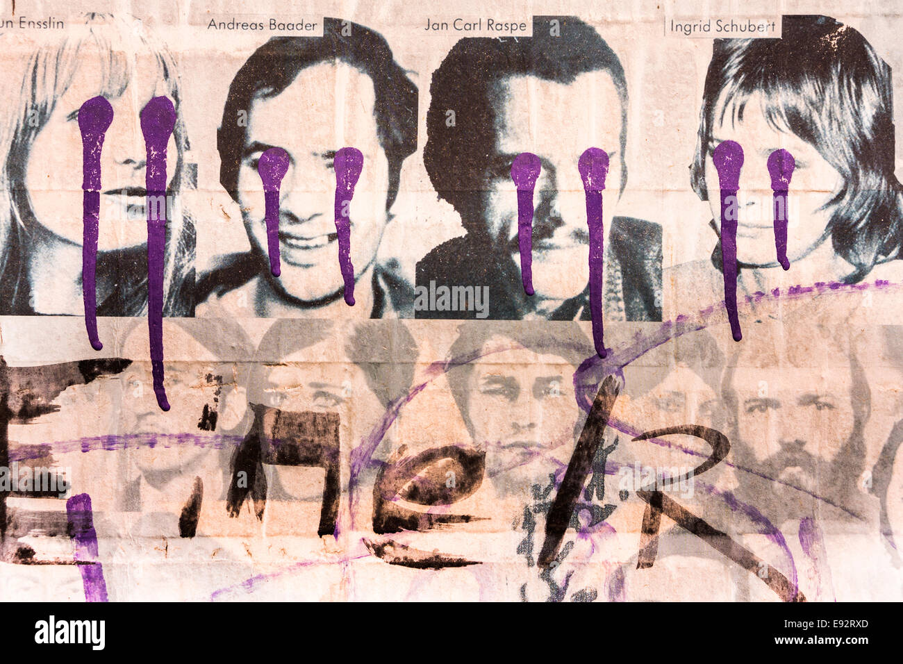 faded and painted over poster showing various red army faction members among them gudrun ensslin, andreas baader, - Stock Image