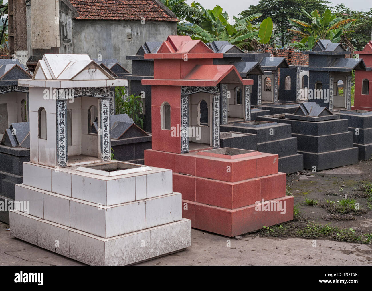 Vietnam Red River Delta: Display at shop of tombs for sale. Stock Photo