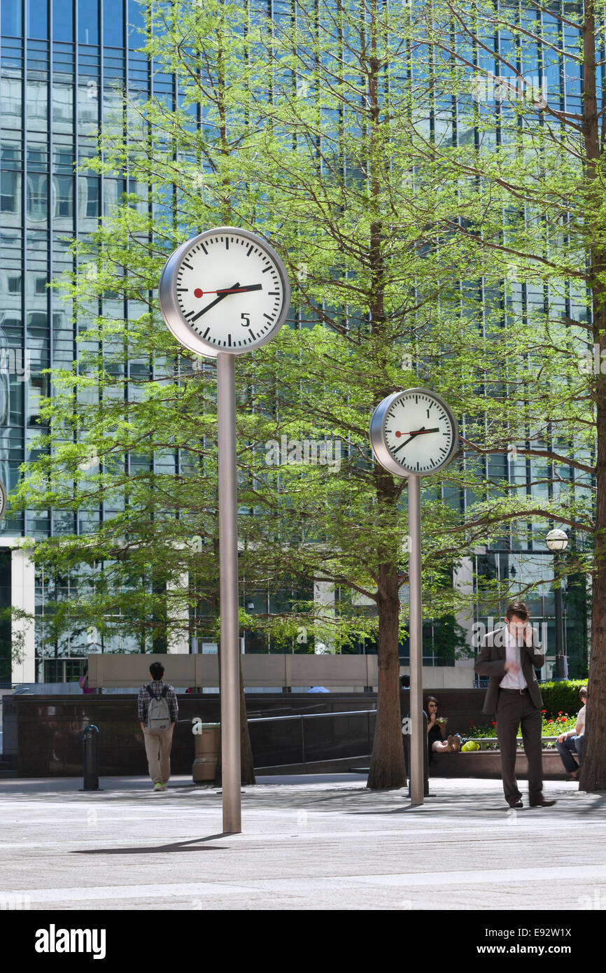 Canary Wharf clocks, London, UK - Stock Image
