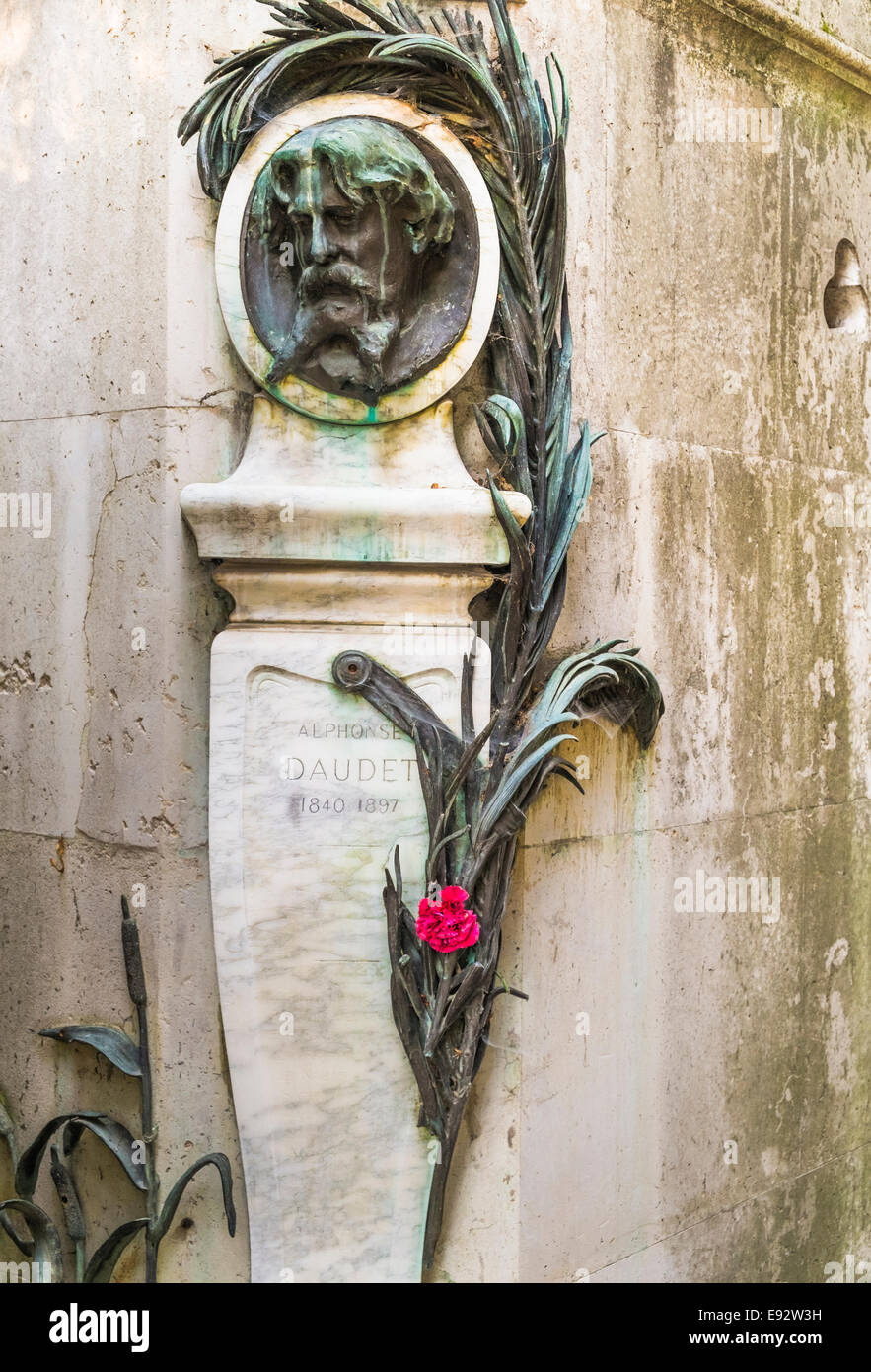 graveside of french writer alphonse daudet, pere lachaise cemetery, paris Stock Photo