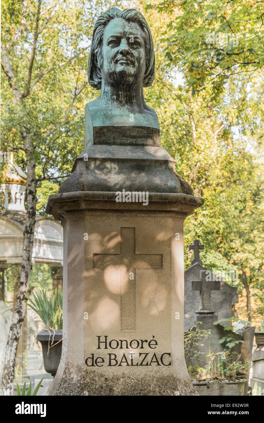 graveside of french writer honoré de balzac, pere lachaise cemetery, paris - Stock Image