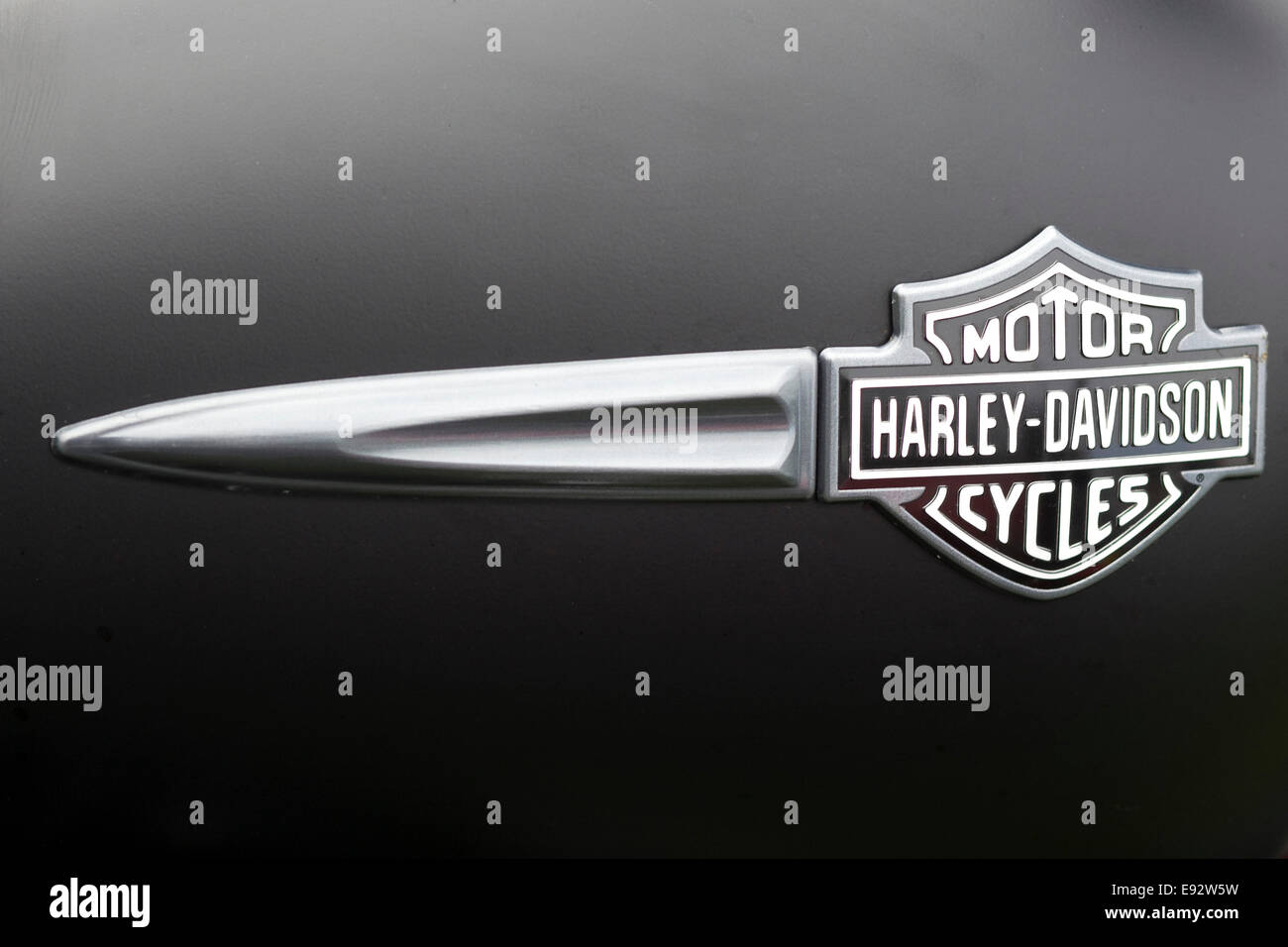 Harley Davidson Logo on a Dagger in chrome and black - Stock Image