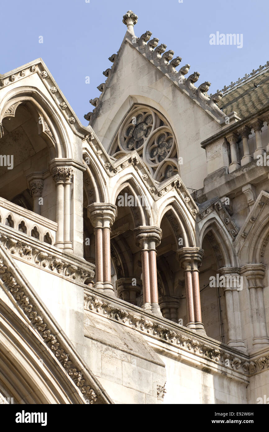 Front facade of the Royal Courts of Justice London - Stock Image