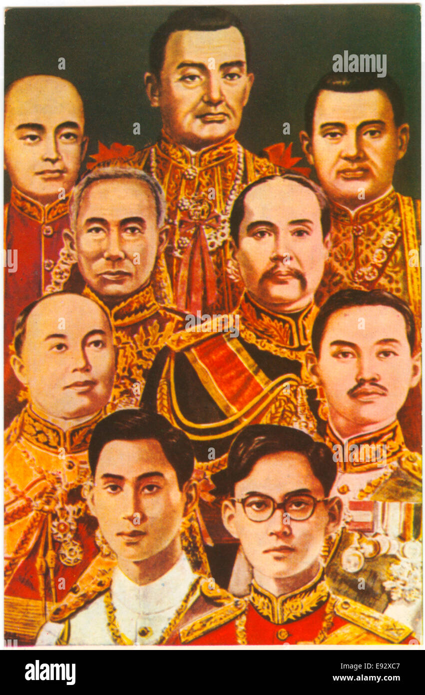 Royal Portrait of all Nine Kings of Chakri Dynasty, Thailand (formerly Siam), Postcard, circa 1946 - Stock Image