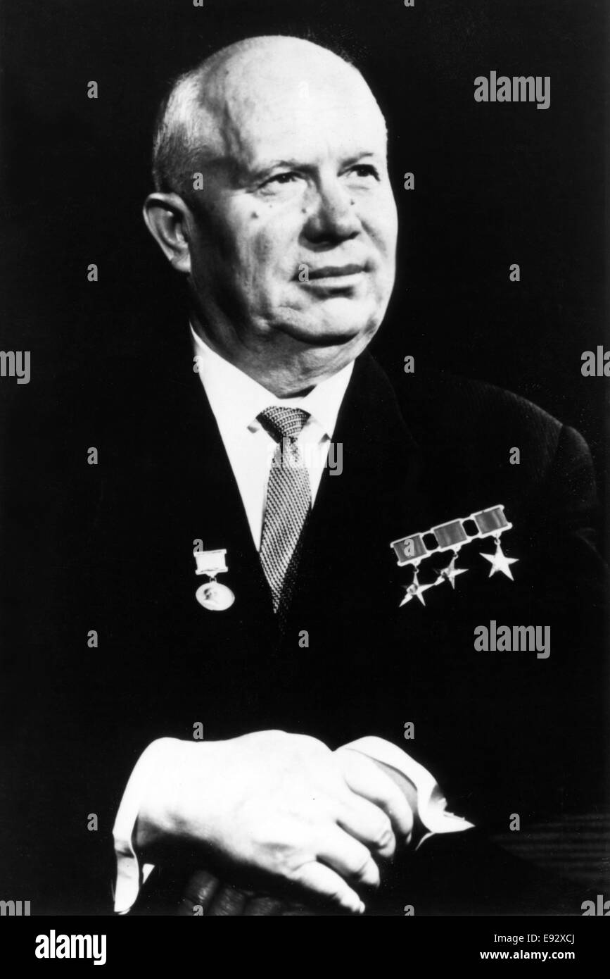 Nikita Khrushchev (1894-1971), Russian Politician, First Secretary of the Communist Party of the Soviet Union, Portrait, - Stock Image