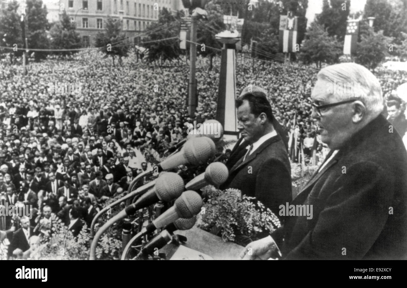 Mayor Willie Brandt of West Berlin and Chancellor Ludwig Erhard of West Germany, as Erhard Addresses Large Crowd, - Stock Image