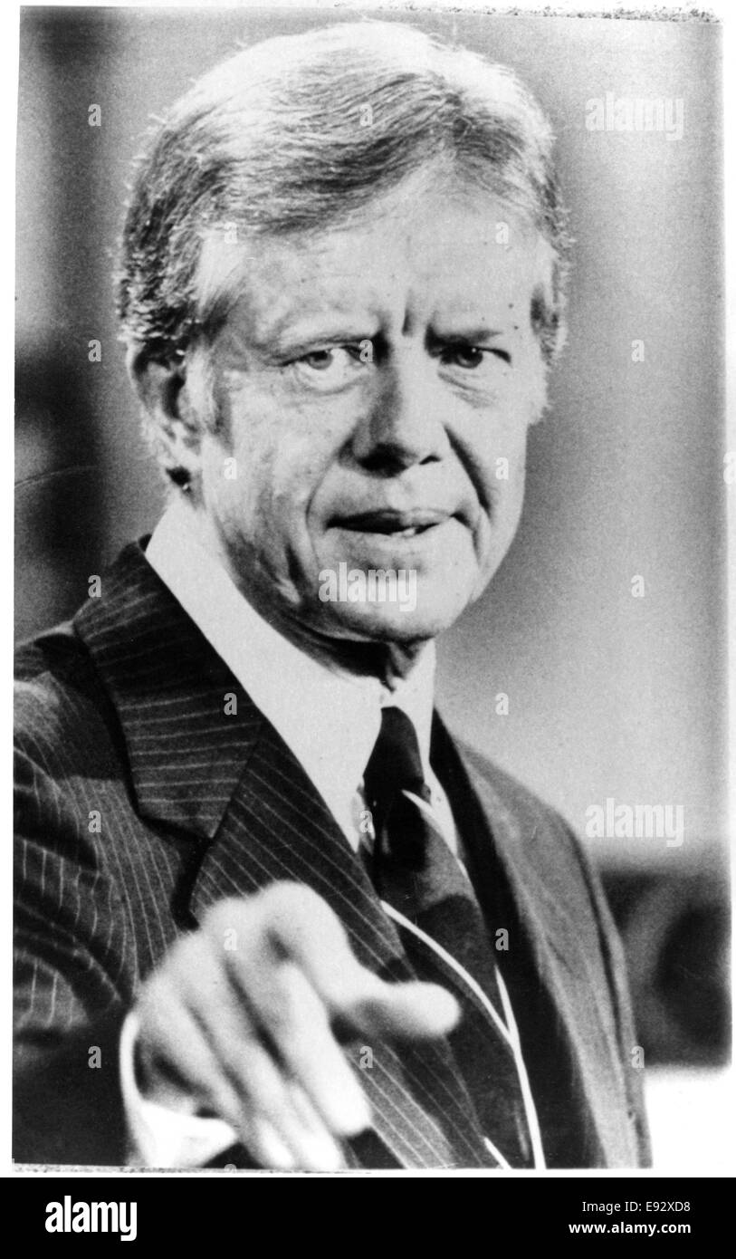 Jimmy Carter, President of the United States, Portrait during News Conference regarding US Hostages at American - Stock Image