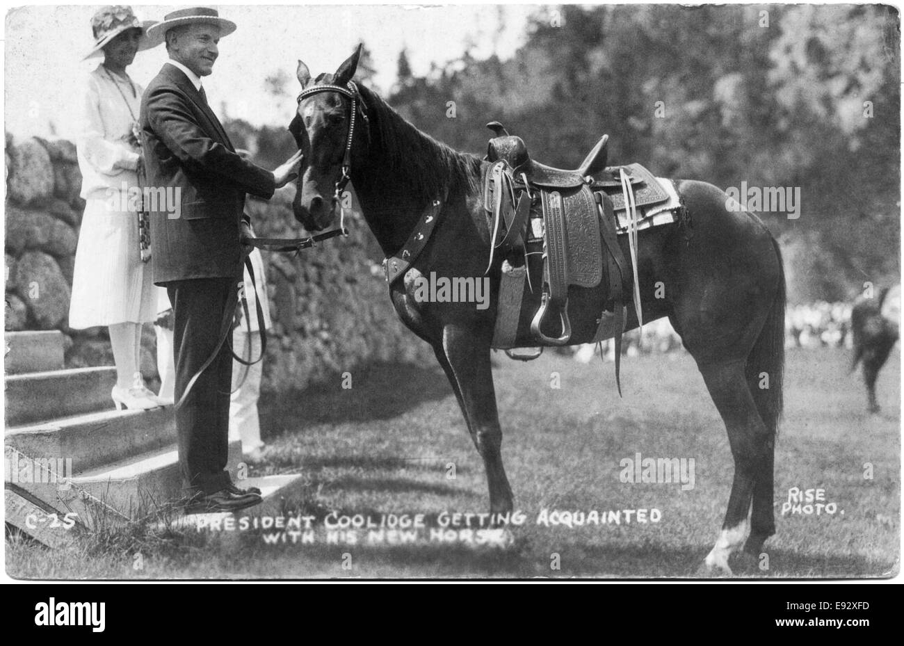 U.S. President Calvin Coolidge with Horse, circa 1925 - Stock Image