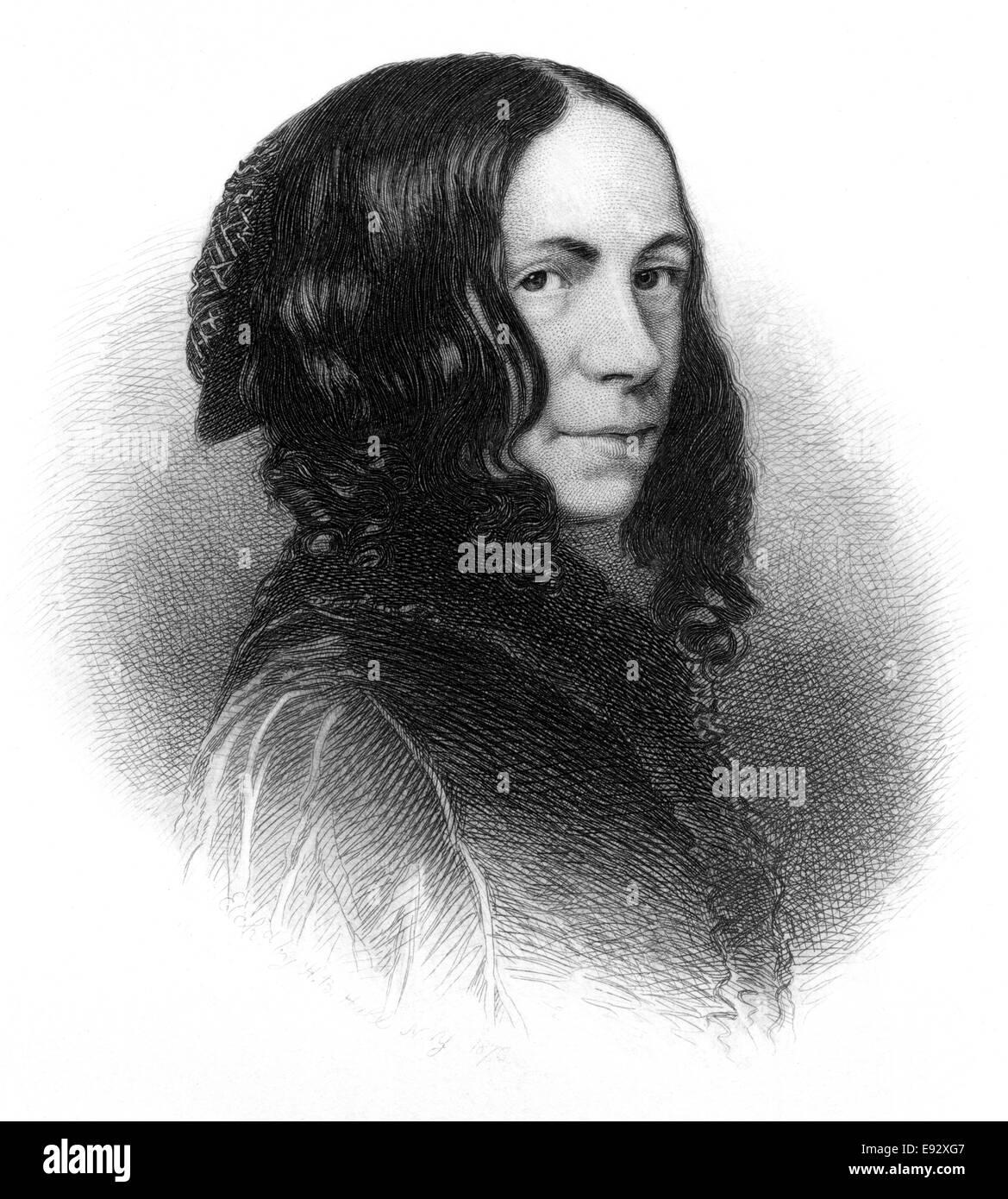Elizabeth Barrett Browning (1806-61), Prominent English Poet, Portrait, Engraving, circa 1876 - Stock Image