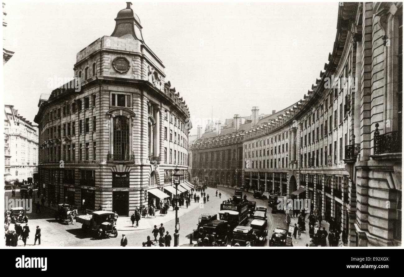 Regent Street, London, England, United Kingdom, Postcard circa 1930 - Stock Image