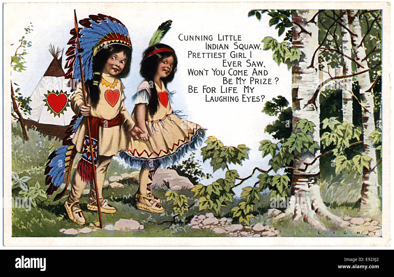 Boy and Girl in Native American Costumes, Valentine Postcard - Stock Image