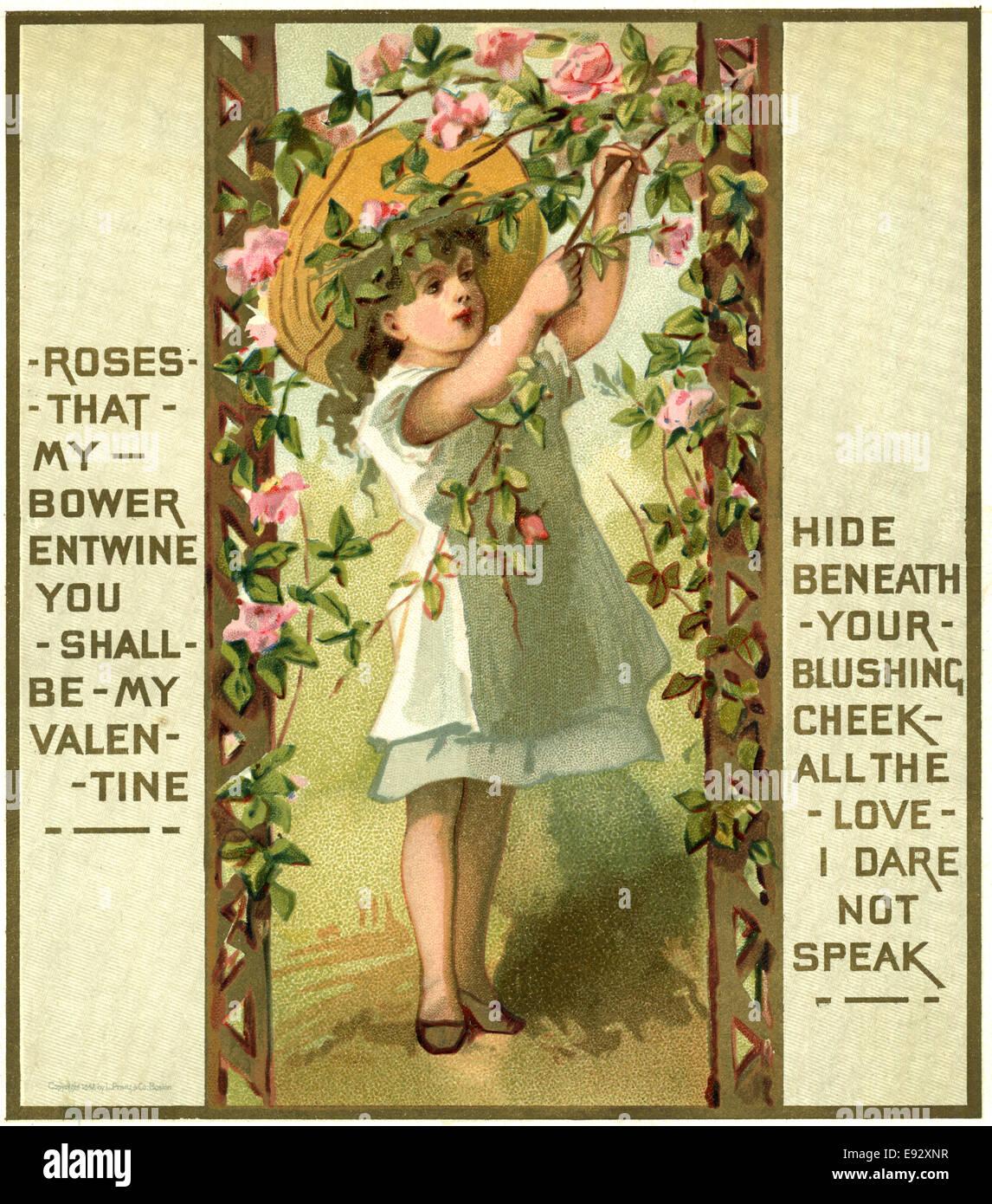 Girl in Wide Hat Tending Roses, Valentine, Postcard - Stock Image