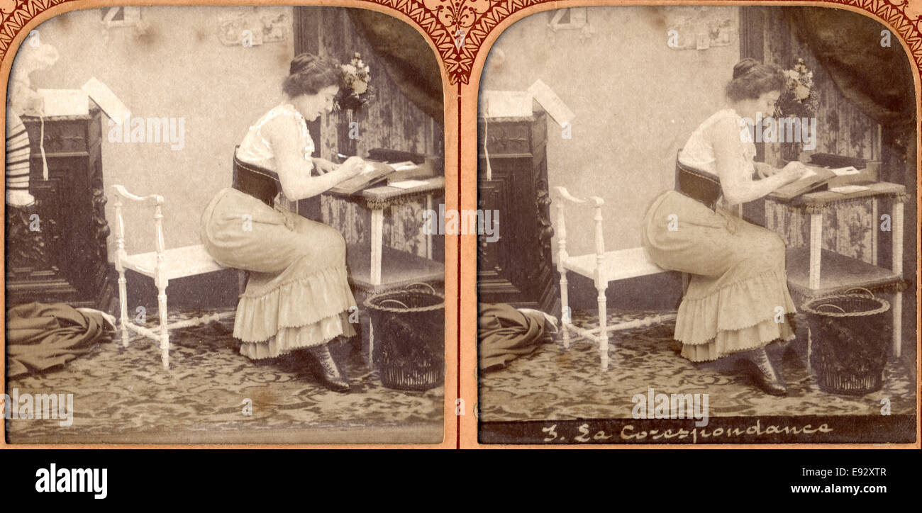 Woman Writing Letter at Desk, Stereo Card, circa early 1900's - Stock Image
