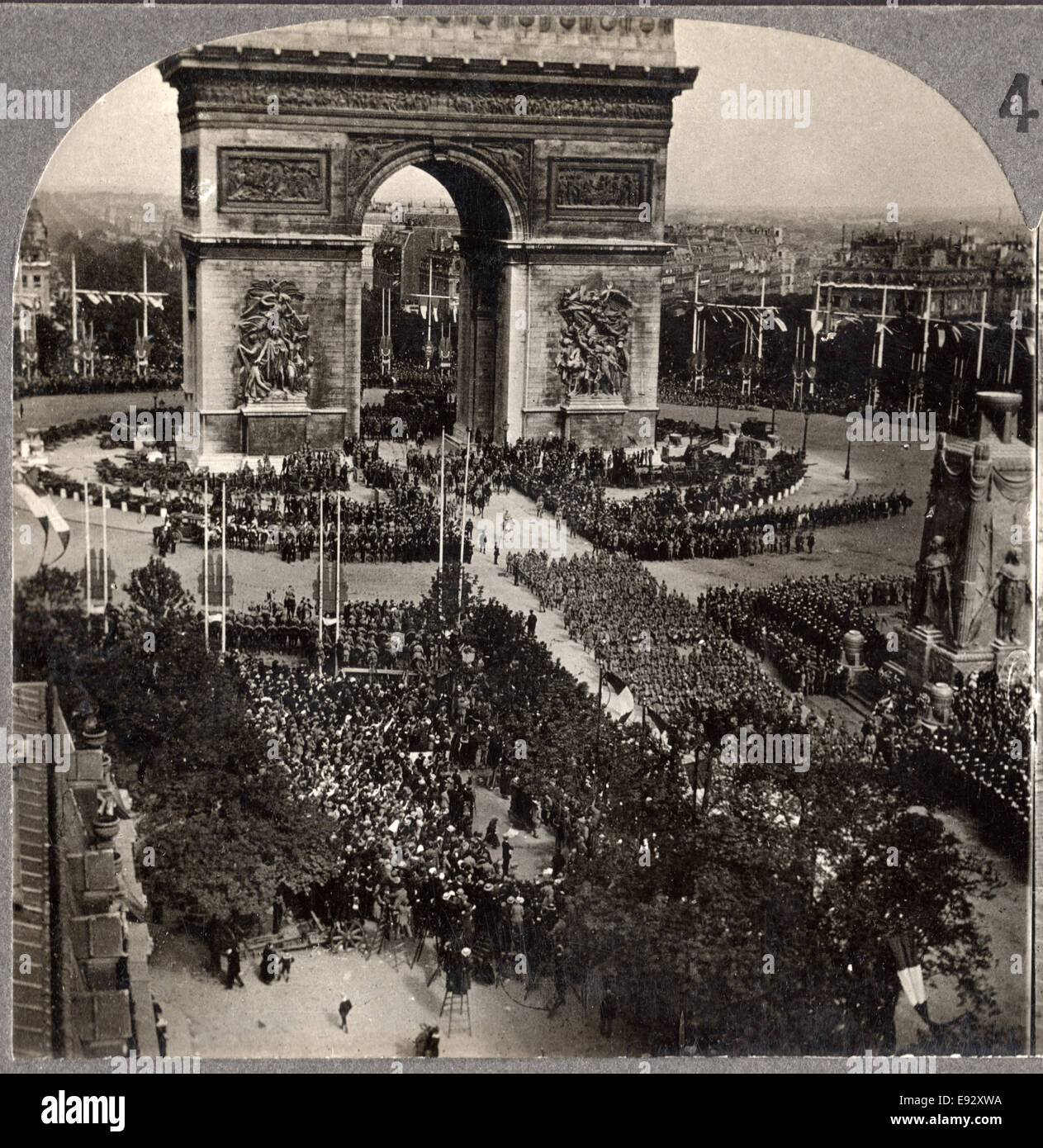 WWI Victory Day Celebration,  Arch de Triumph, Avenue des Champs-Eiysees, Paris, France, Single Image of Stereo Stock Photo