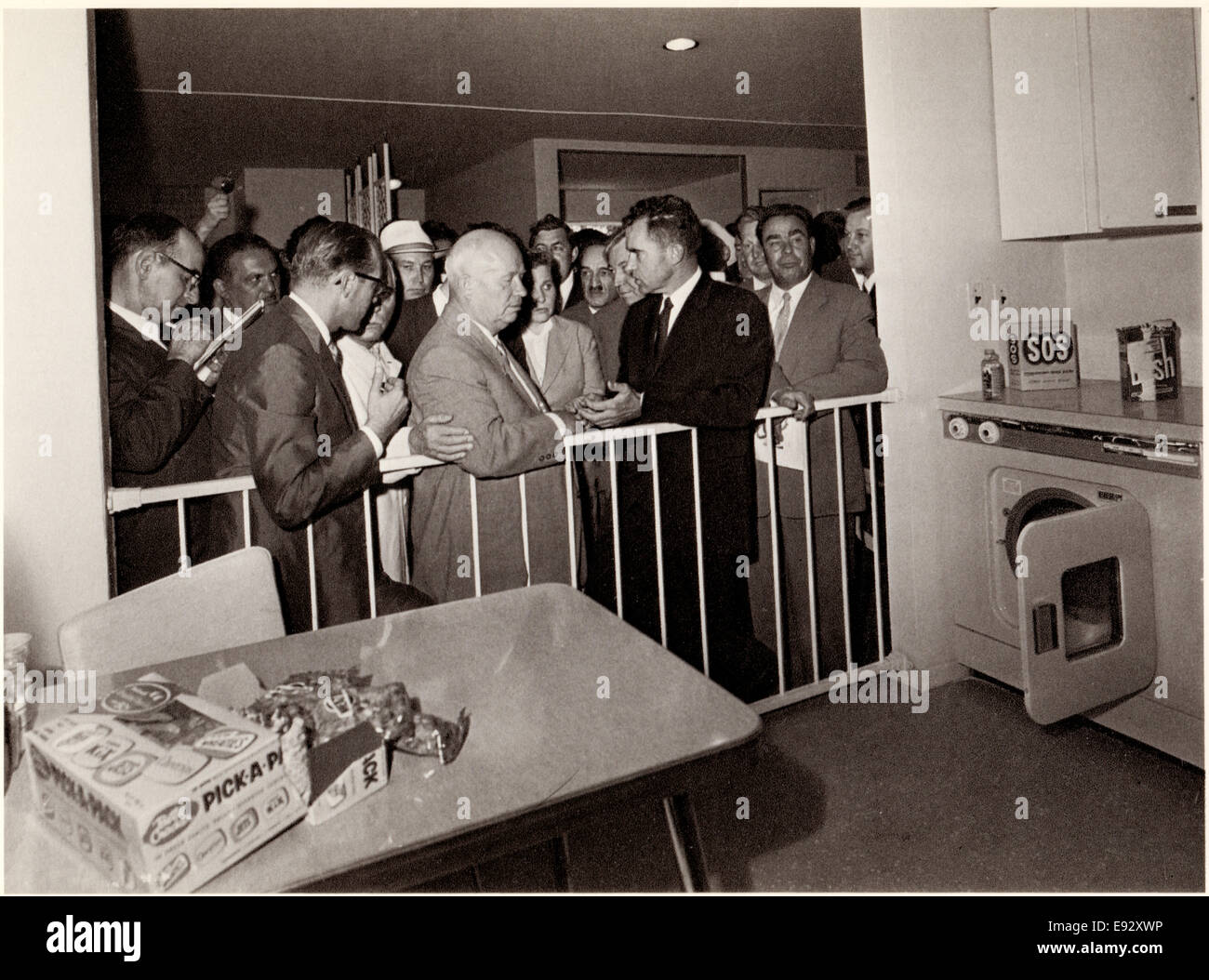 U.S. Vice President Richard Nixon, Soviet Premier Nikita Khruschev attending American Exhibition resulting in 'Kitchen - Stock Image