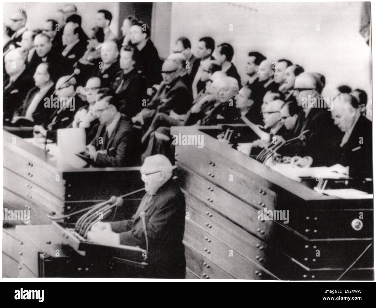 West German Chancellor Ludwig Erhard Speaking to Parliament, Bonn, West Germany, November 10, 1965 - Stock Image