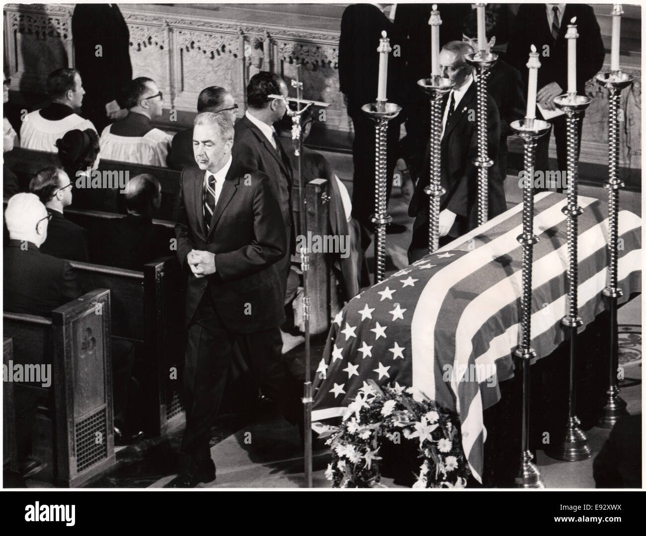 Senator Eugene McCarthy Passing Casket of Robert F. Kennedy after Receiving Communion, St. Patrick's Cathedral, - Stock Image