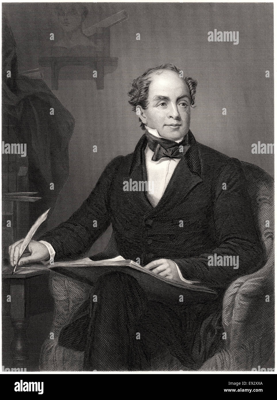 Thomas Moore (1779-1852), Irish Poet, Songwriter and Entertainer, Portrait Sitting in Chair, Illustration from the - Stock Image