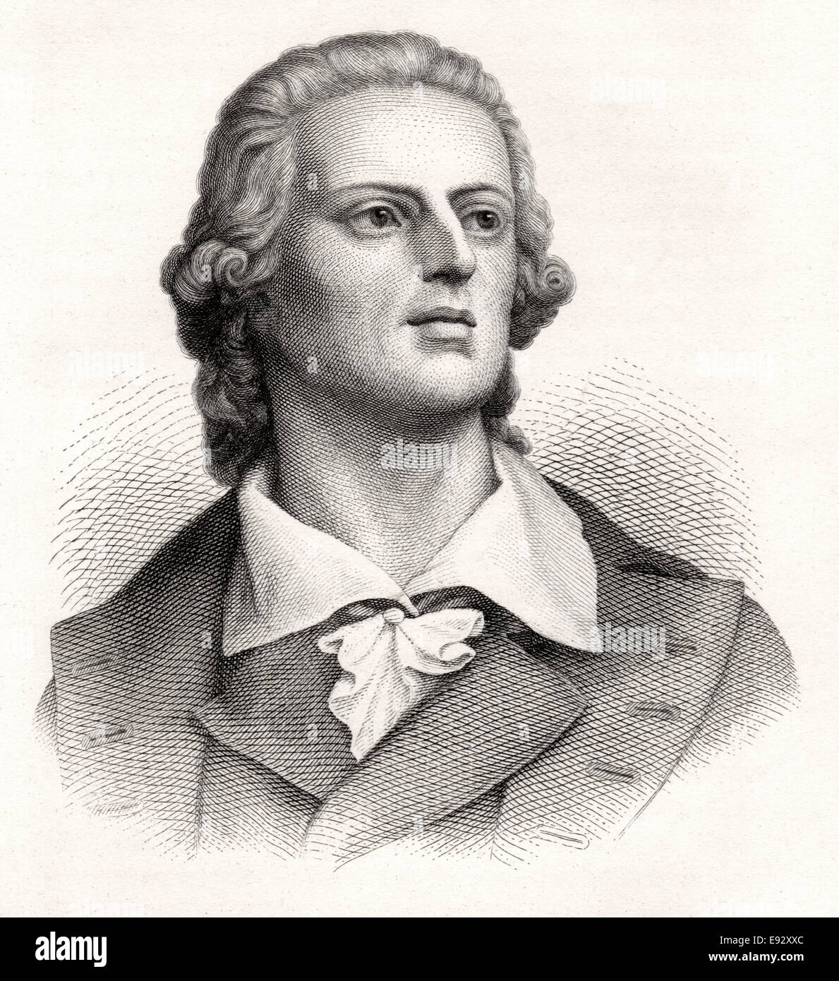 Friedrich Schiller (1759-1809), German Poet, Philosopher, Historian, and Playwright, Engraving, 1873 - Stock Image