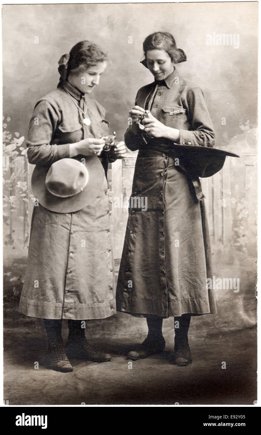 Two Women in Uniform, WWI, Portrait, circa 1917 - Stock Image