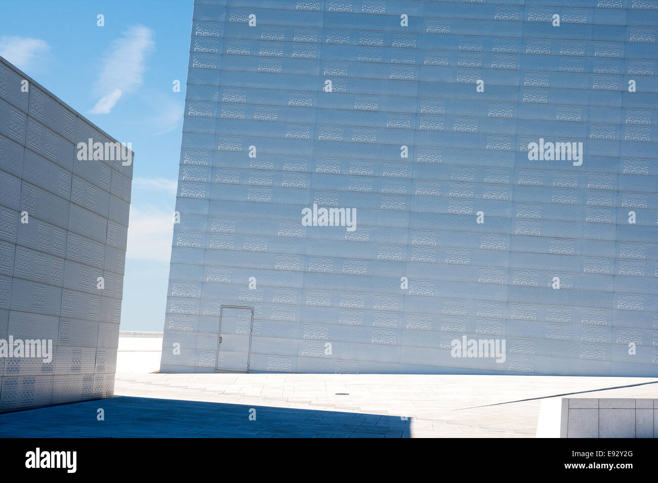On the roof of the Oslo Opera House in Oslo, Norway. - Stock Image