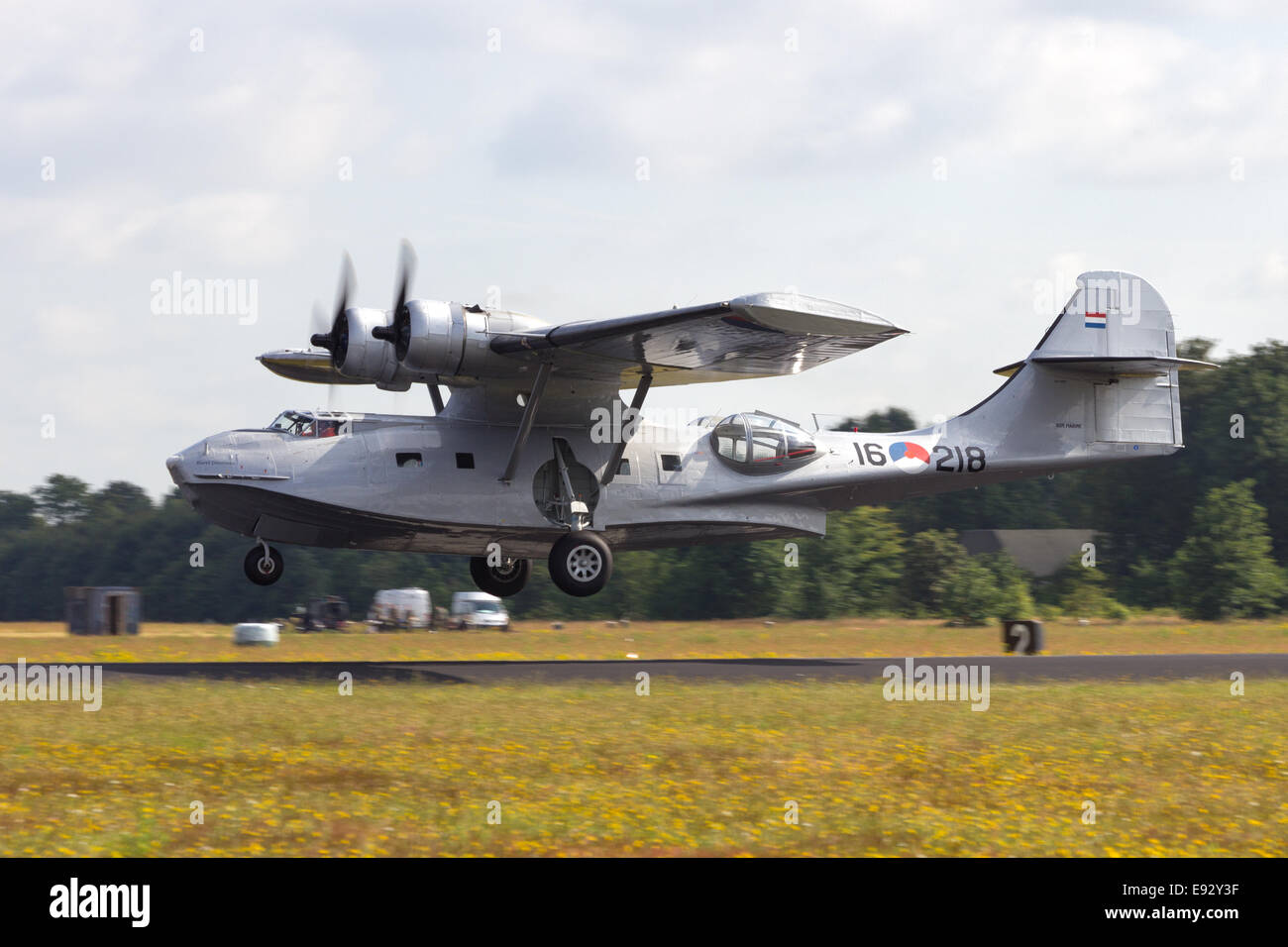 Consolidated PBY Catalina in Dutch Navy colors take off. - Stock Image