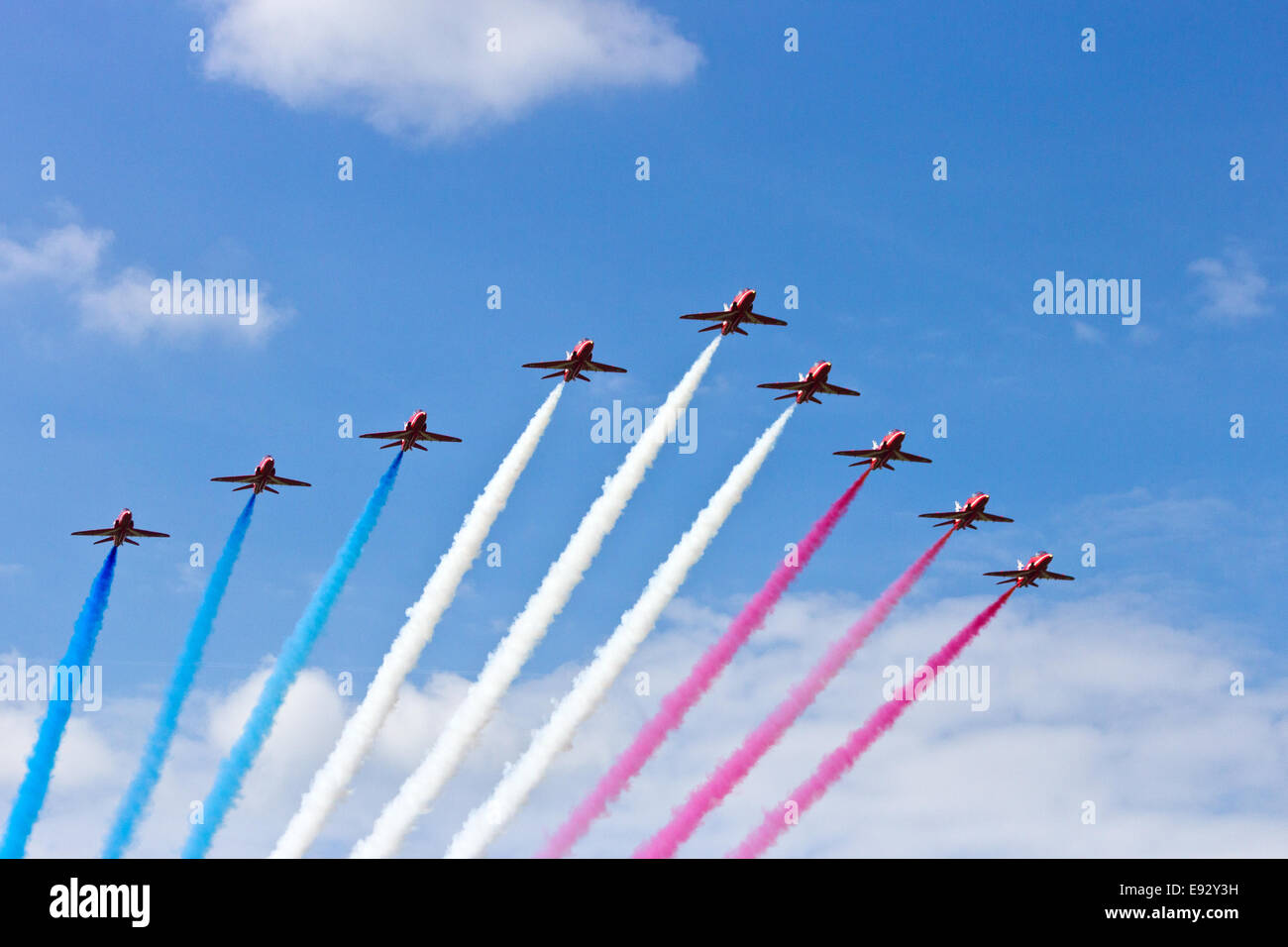 RAF Red Arrows performing at the Dutch Air Force Open House on June 21, 2014 in Gilze-Rijen airbase - Stock Image