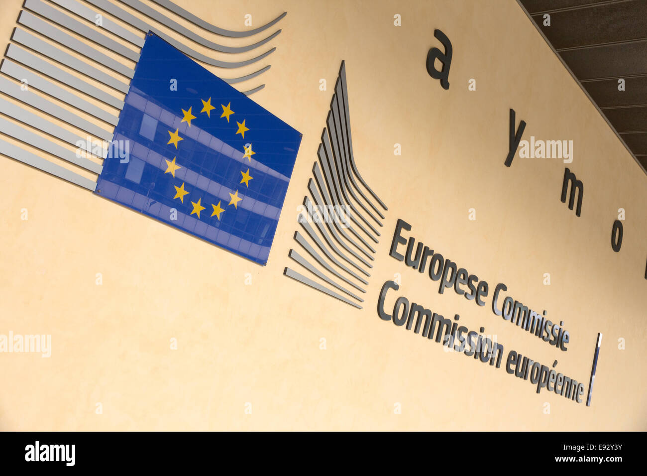 The Berlaymont building entrance in Brussels. Berlaymont is an office building and - Stock Image