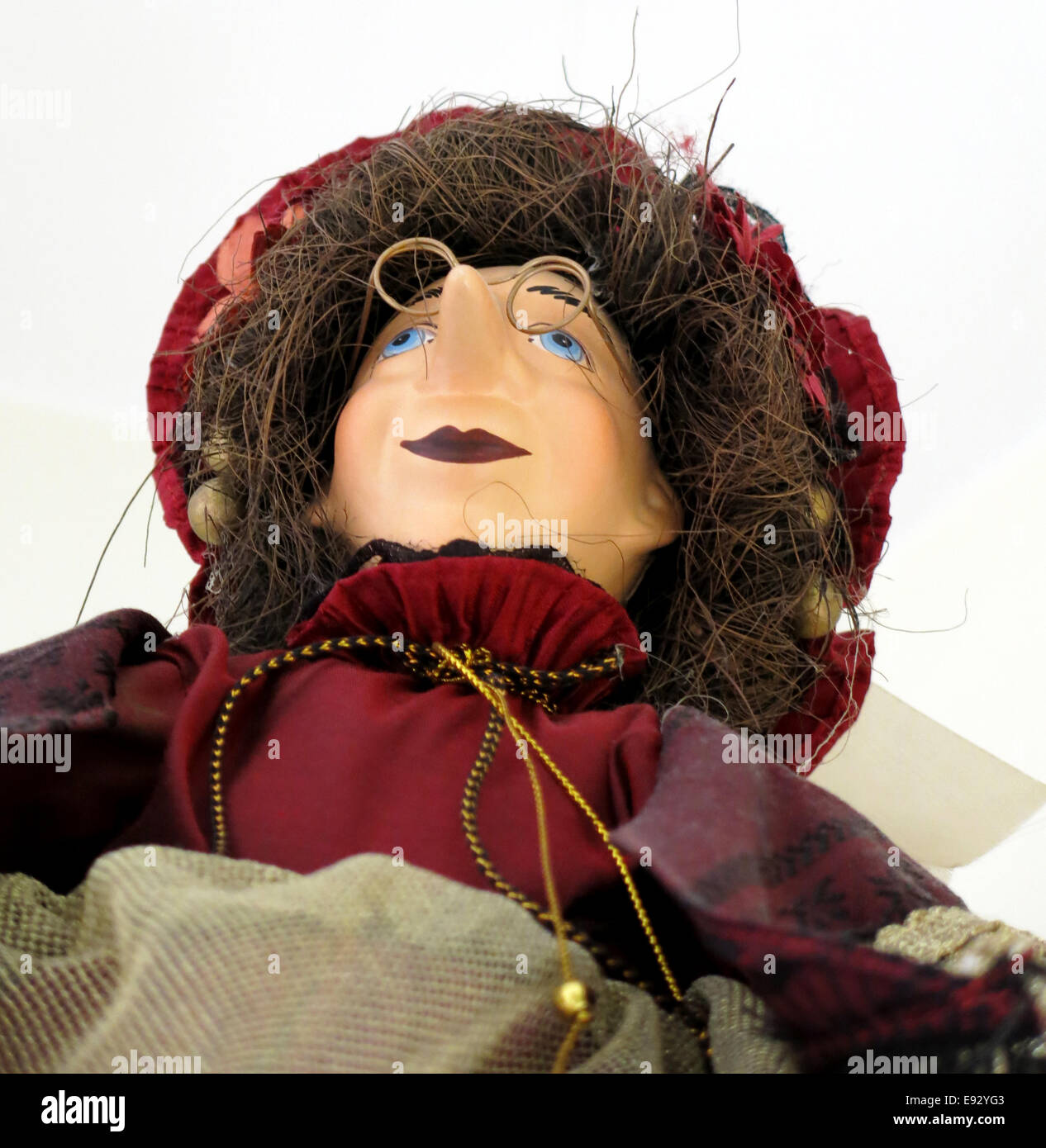 Marionette of a good natured witch, low angle view. - Stock Image