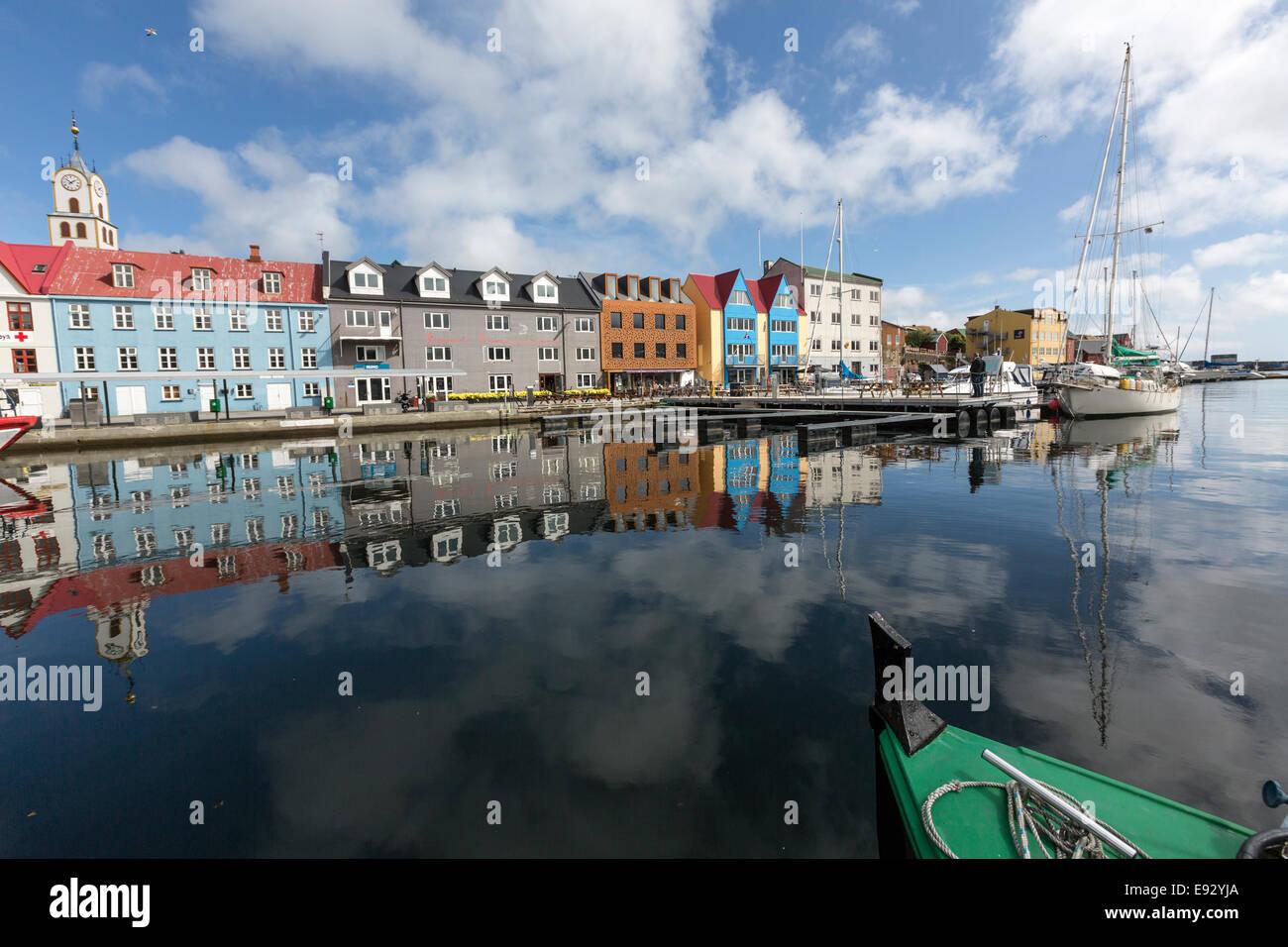 Reflexion in the Torshavn harbor, - Stock Image