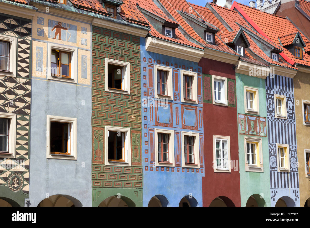 Colorful houses on the central square in Poznan Stock Photo