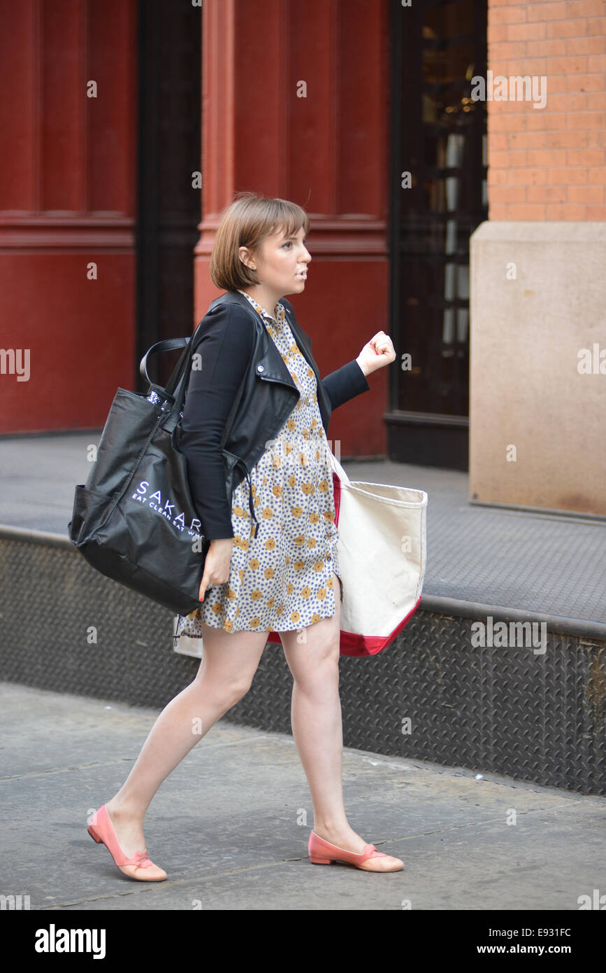 Girls creator lena dunham laden with bags visits taylor swifts apartment featuring lena dunham where manhattan new york united states when 14 apr 2014