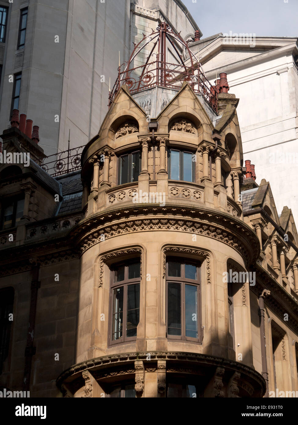 Oriel window on Lombard Chambers, the former Brook's Bank building (George Truefitt 1868). Manchester, England, - Stock Image