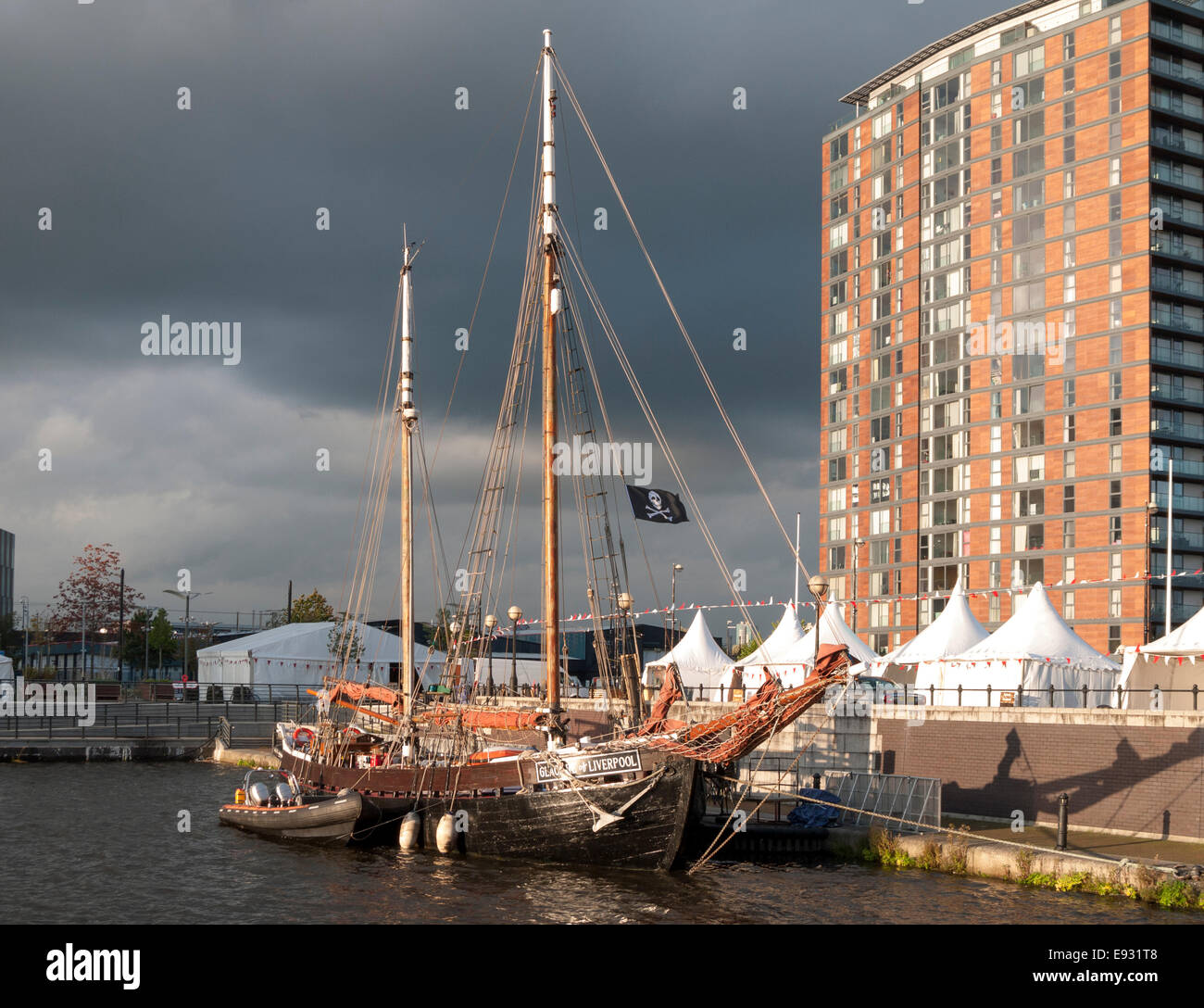 The 'Glacier of Liverpool' sailing ship at Salford Quays, Manchester, England, UK - Stock Image