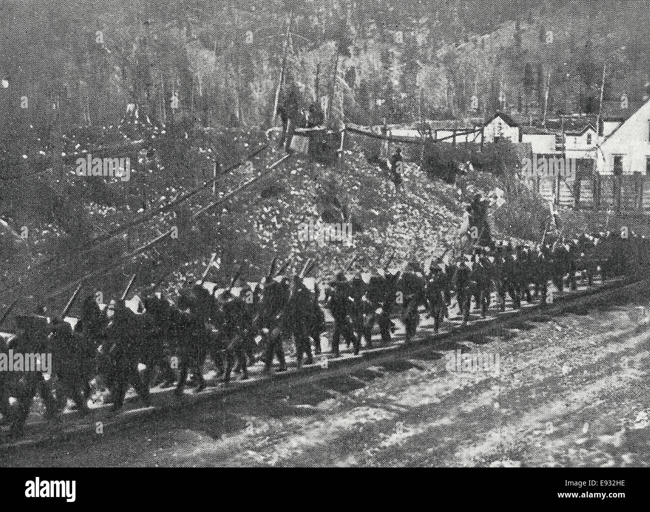 Negro troops marching into town from the station - Wardner Riots, Idaho, 1899 - Stock Image