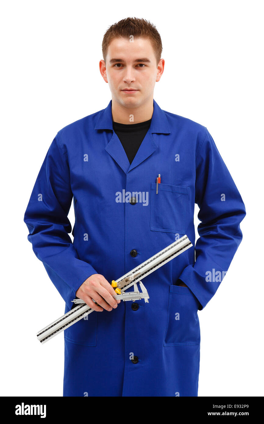 Young engineer with his tools, ruler, caliper and pliers - Stock Image
