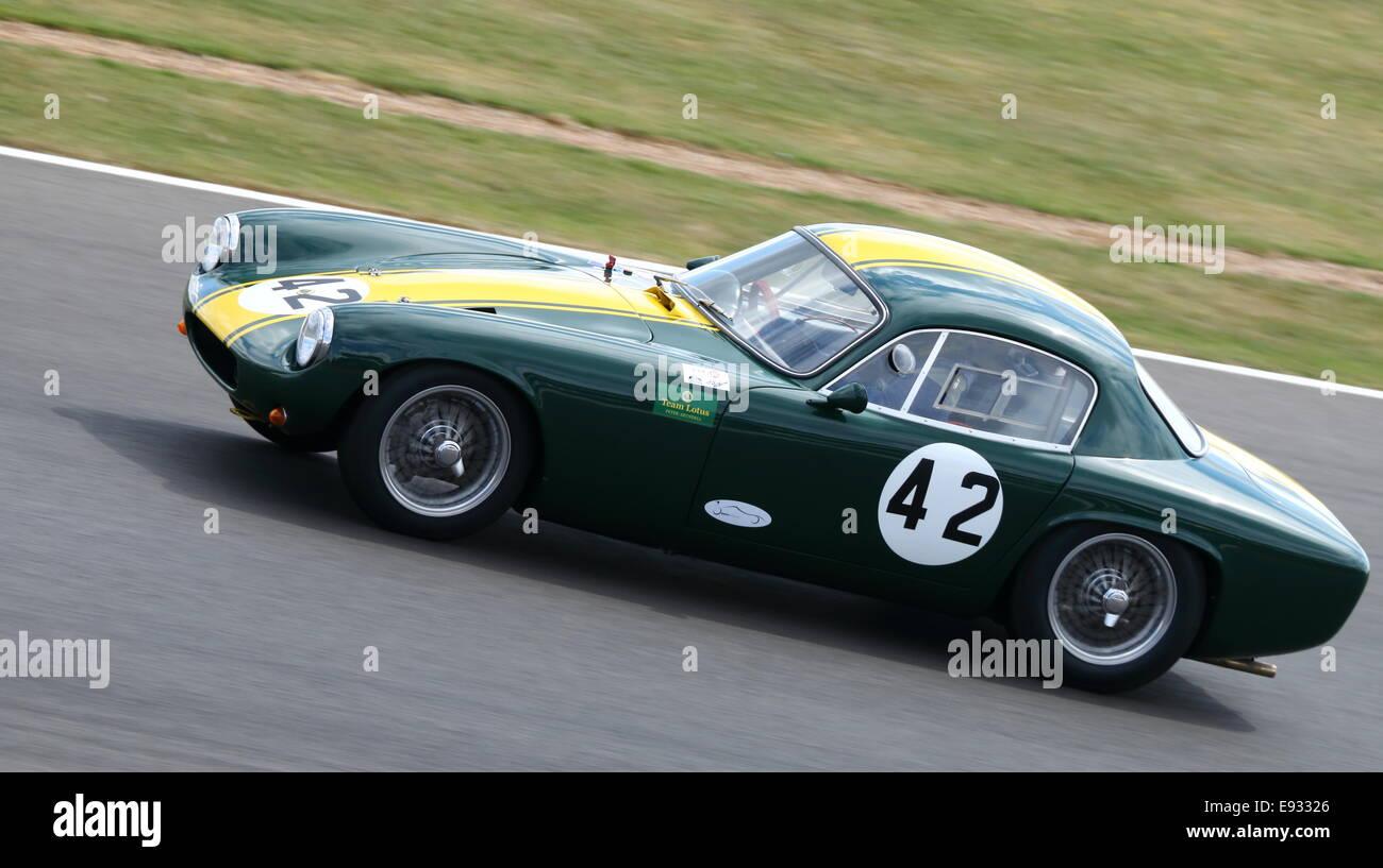 Lotus Elite, Royal Automobile Club Tourist Trophy for pre-1963 GT cars. Silverstone Classic 2014. - Stock Image