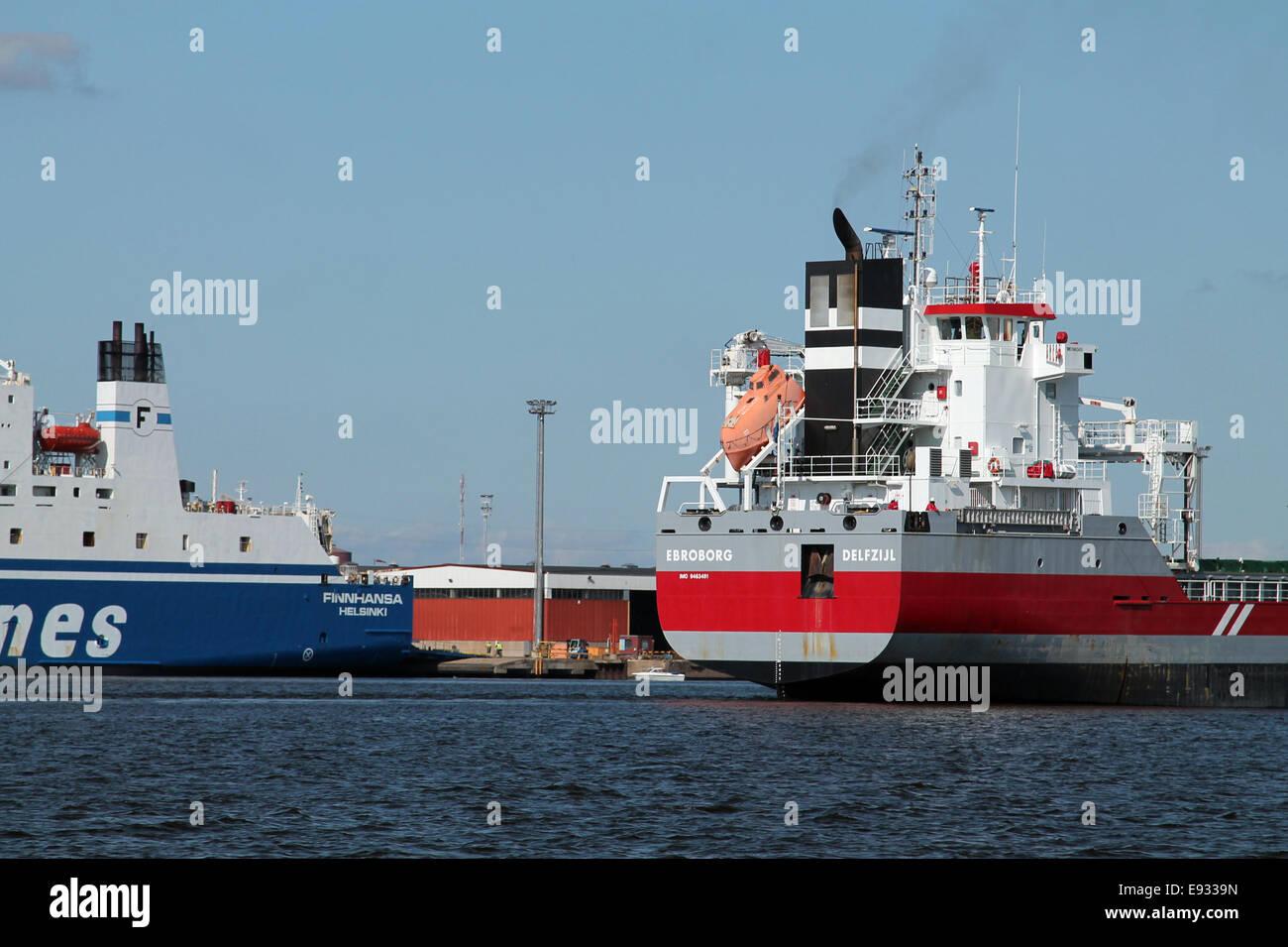 Kotka, Finland, merchant ships in harbour - Stock Image