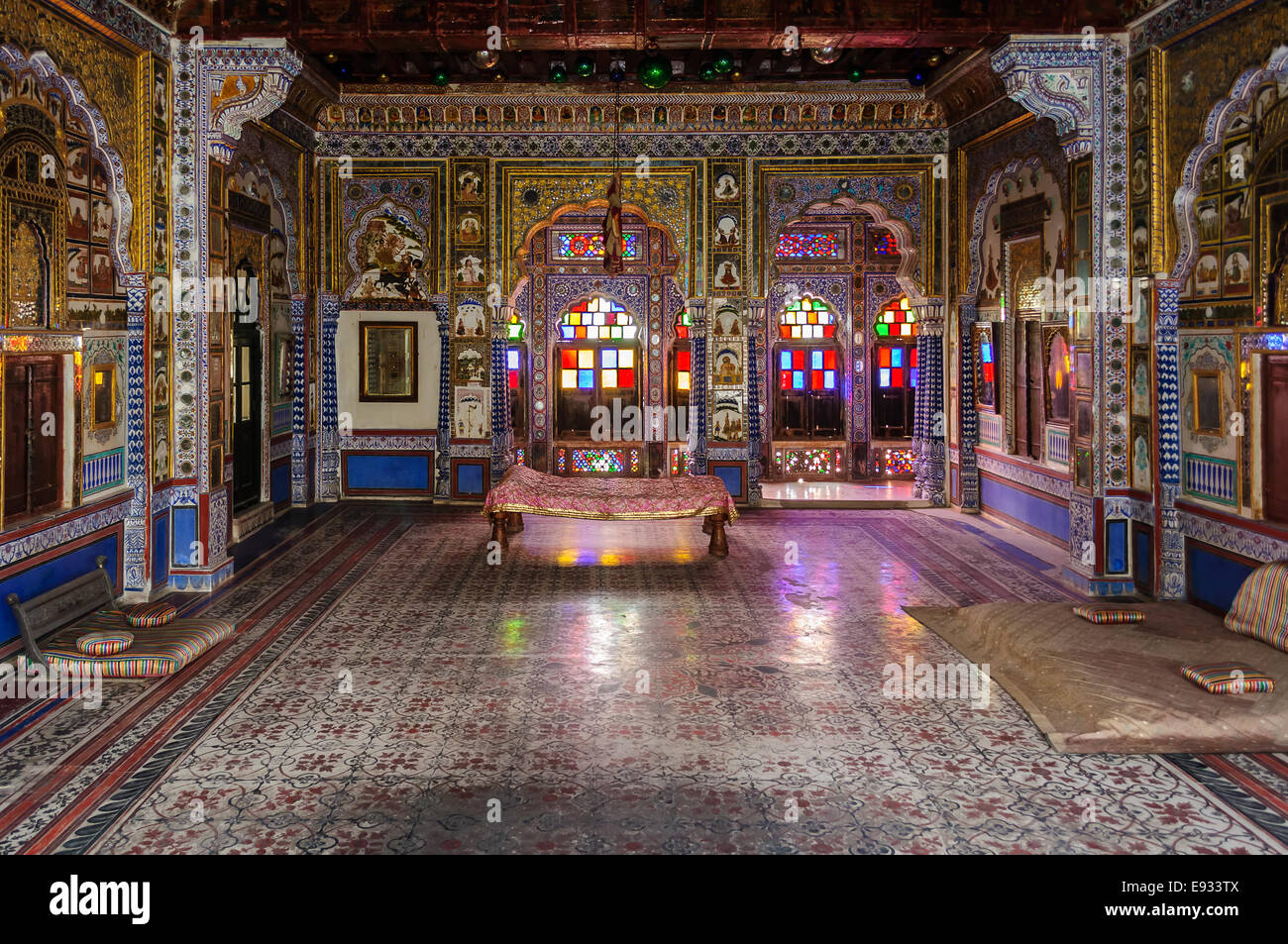 Throne room and Royal court of Marwar King, Mehrangarh fort, Rajasthan, India - Stock Image