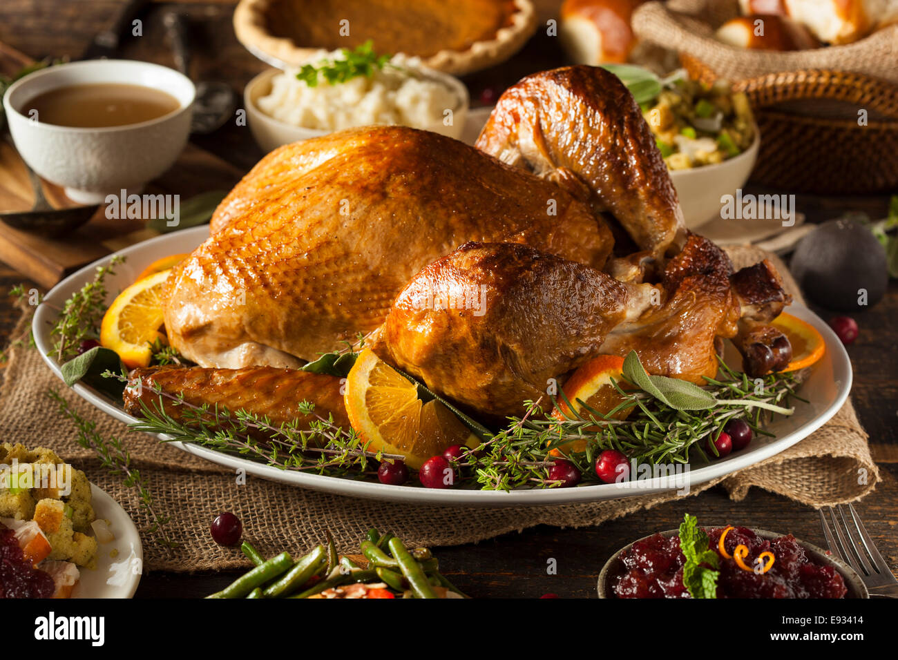 Whole Homemade Thanksgiving Turkey with All the Sides - Stock Image