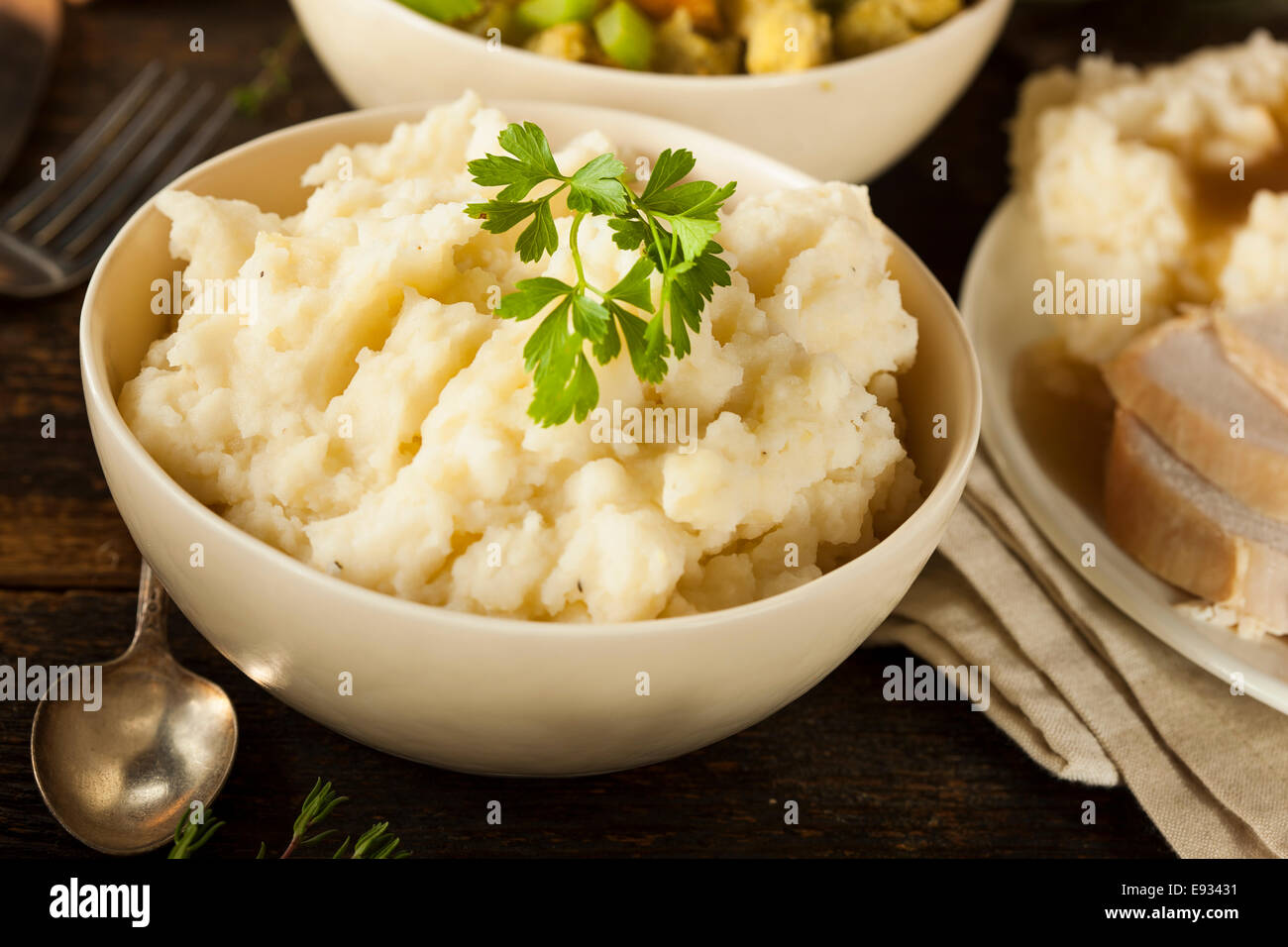 Homemade Creamy Mashed Potatoes in a Bowl - Stock Image