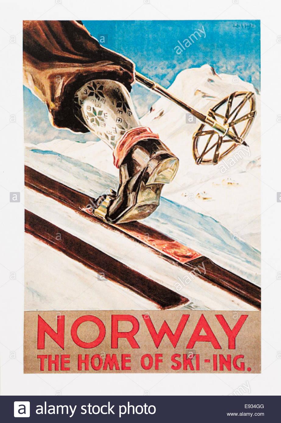 Yosemite Winter Sports Ski School 1940/'s Vintage Advertising Poster