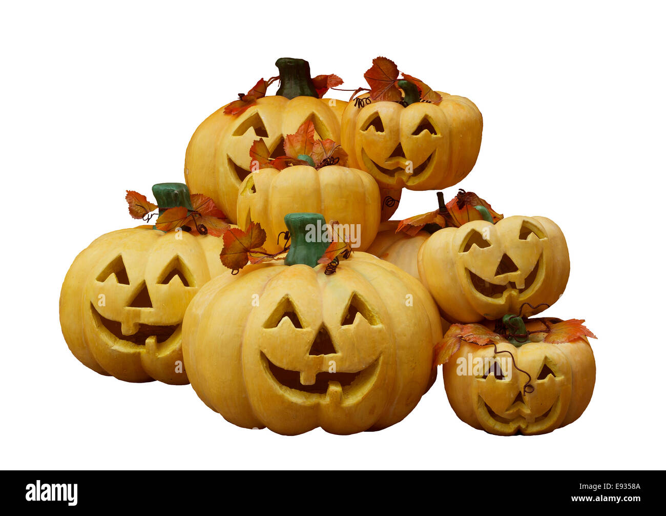 Pumpkin ghost mask for halloween festival.Isolate background and path. - Stock Image