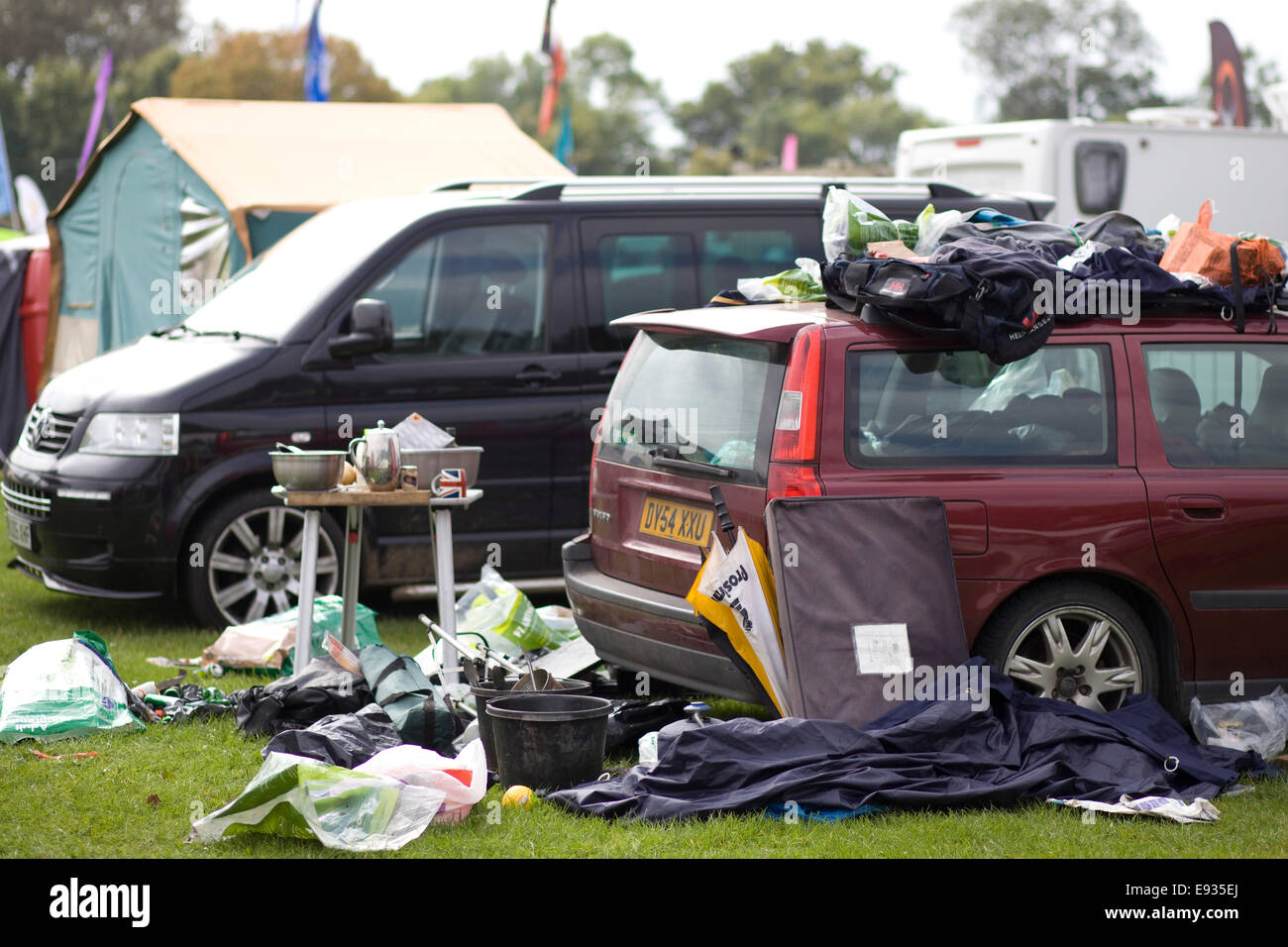 Campsite Litter and mess - Stock Image
