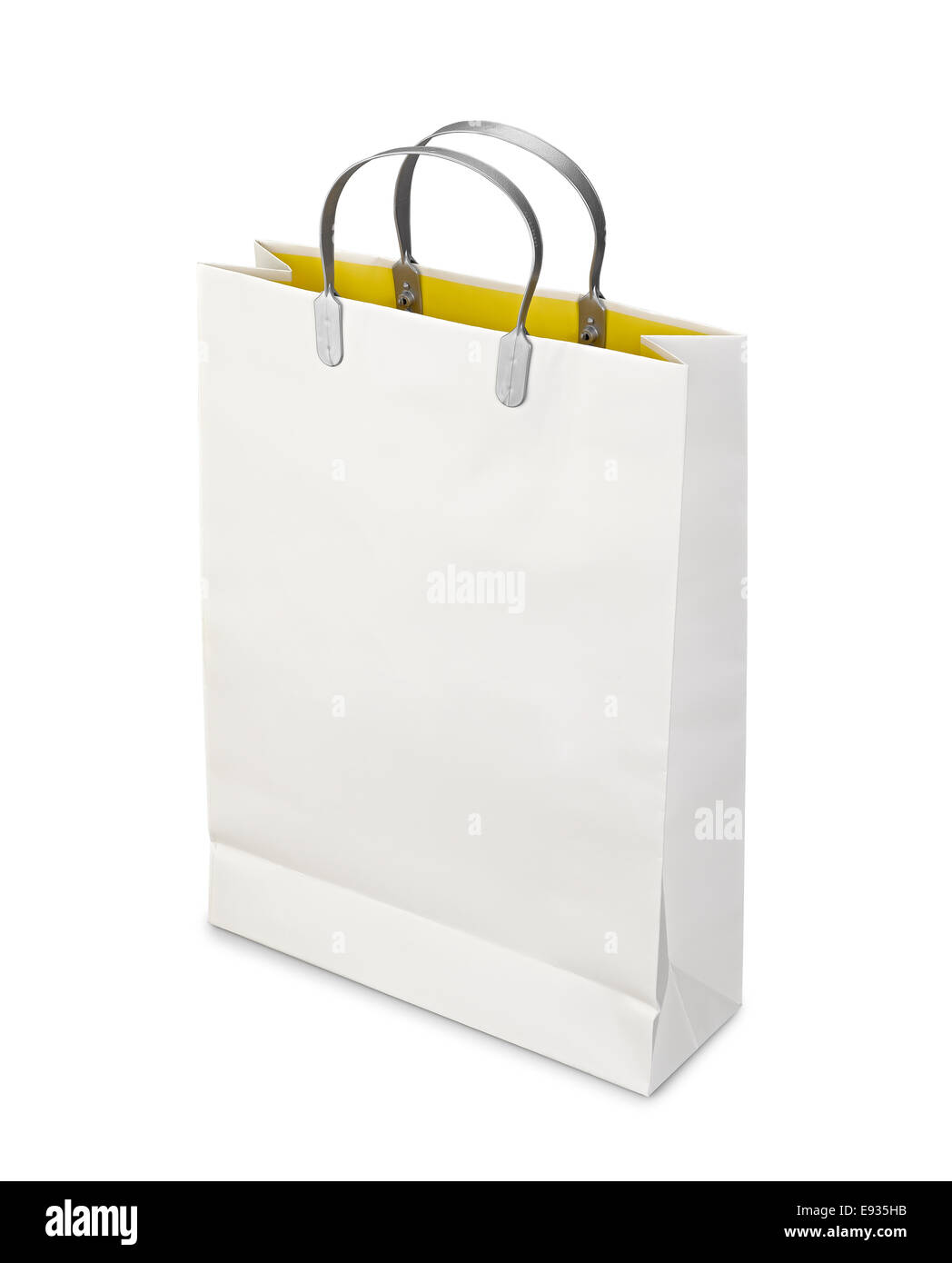 60b9e980eb Shopping Bag opened isolated on white with clipping path - Stock Image