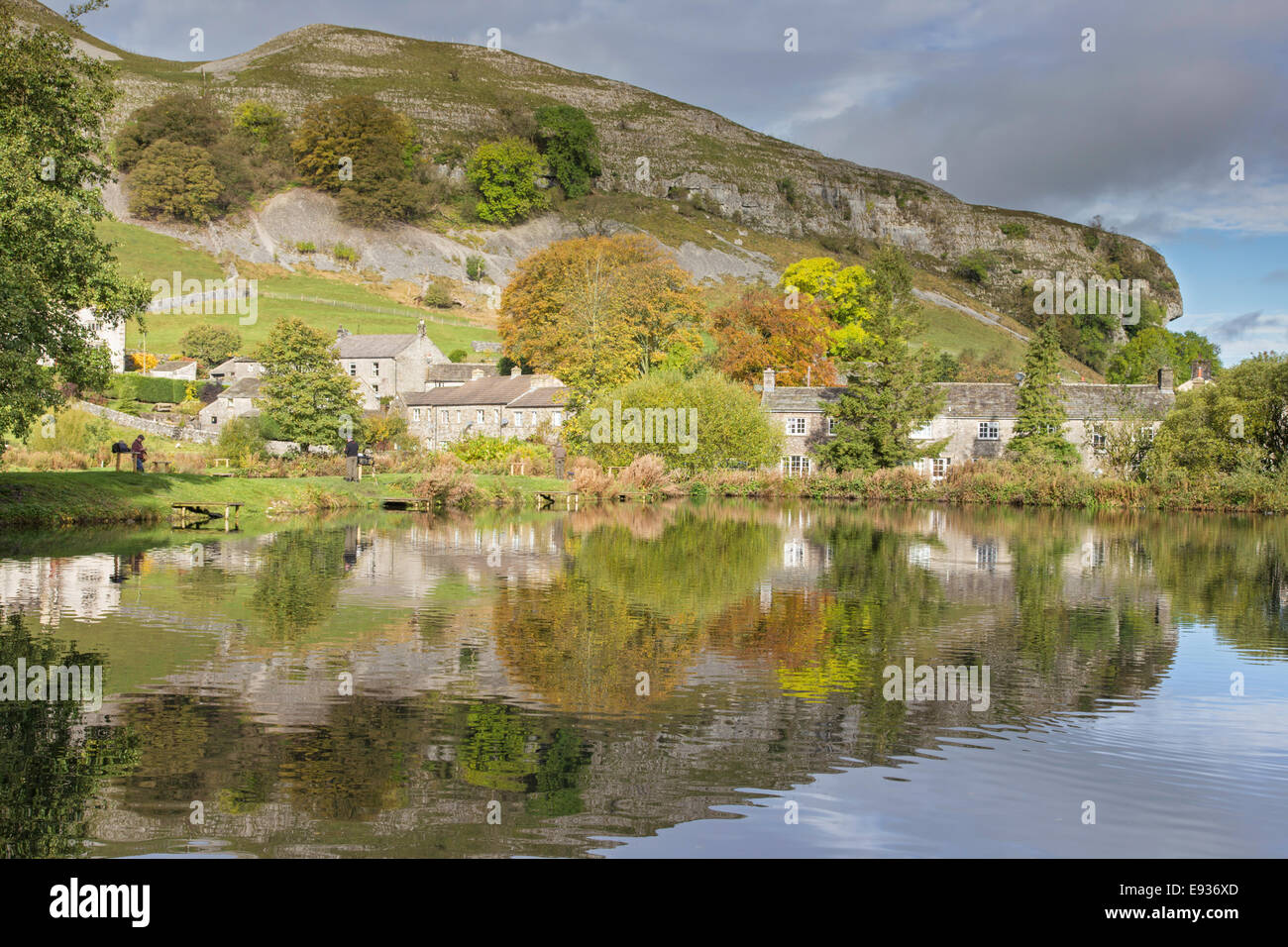 Autumn reflections of Kilnsey Crag from Kilnsey Park, Wharfdale, Yorkshire Dales National Park, North Yorkshire, - Stock Image