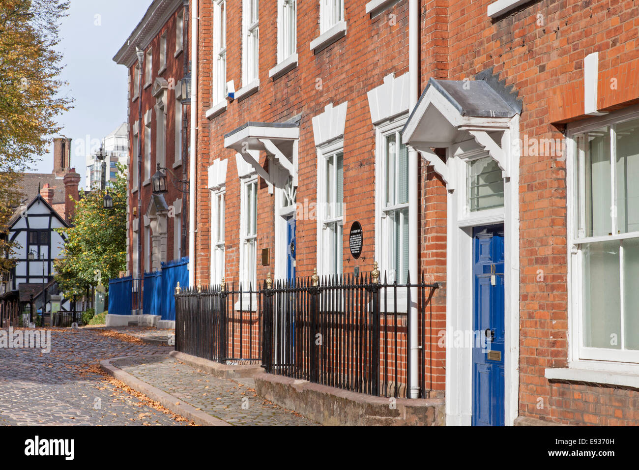 Early 19th century town houses in Priory Row, Coventry, Warwickshire, England, UK - Stock Image