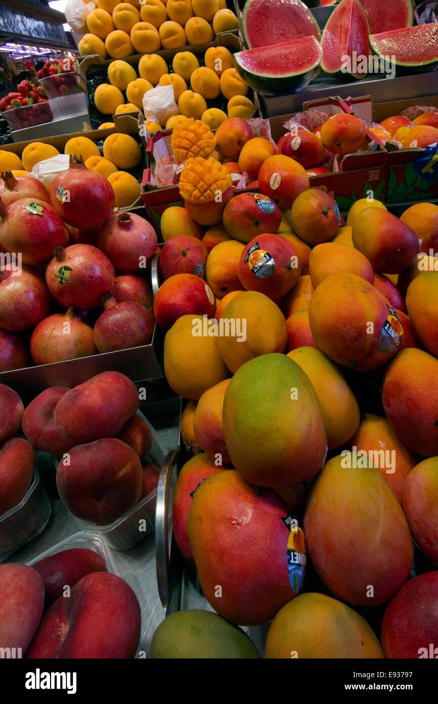 Fruits stand in La Boqueria market Barcelona, Catalonia,  Spain Stock Photo