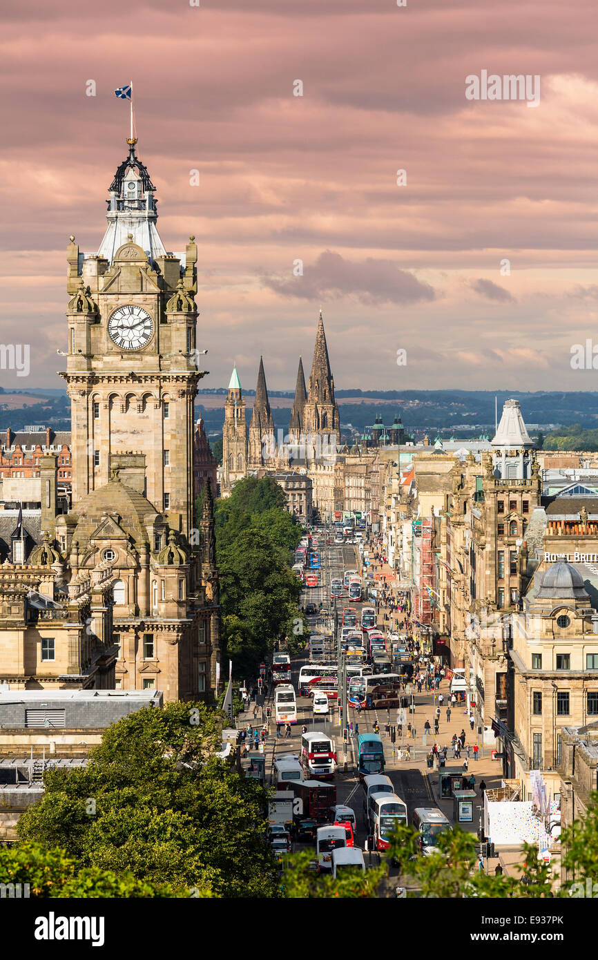 Princes Street in Edinburgh in Scotland - Stock Image