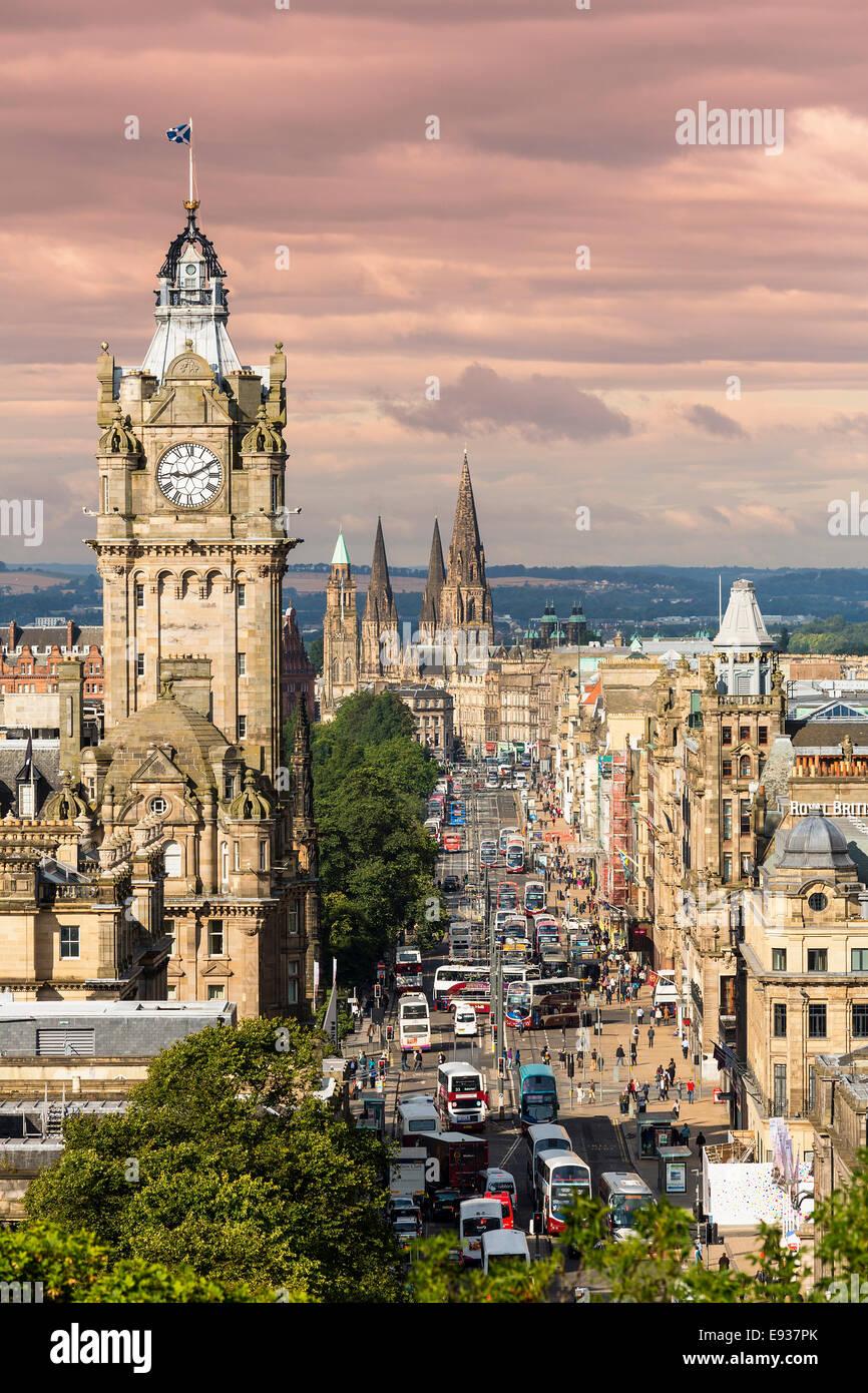 Princes Street in Edinburgh in Scotland - Stock Image